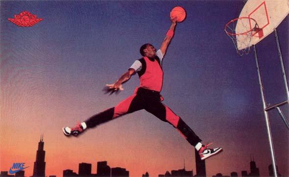 Michael Jordan in een van zijn eerste campagnes voor Nike.