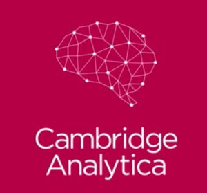 Het Cambridge Analytica logo in roze