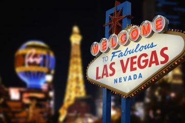 Las Vegas skyline en het beroemde bord Welkom in Las Vegas