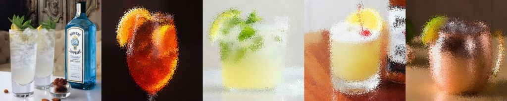 Zomerse cocktails geblurred en Gin en Tonic scherp